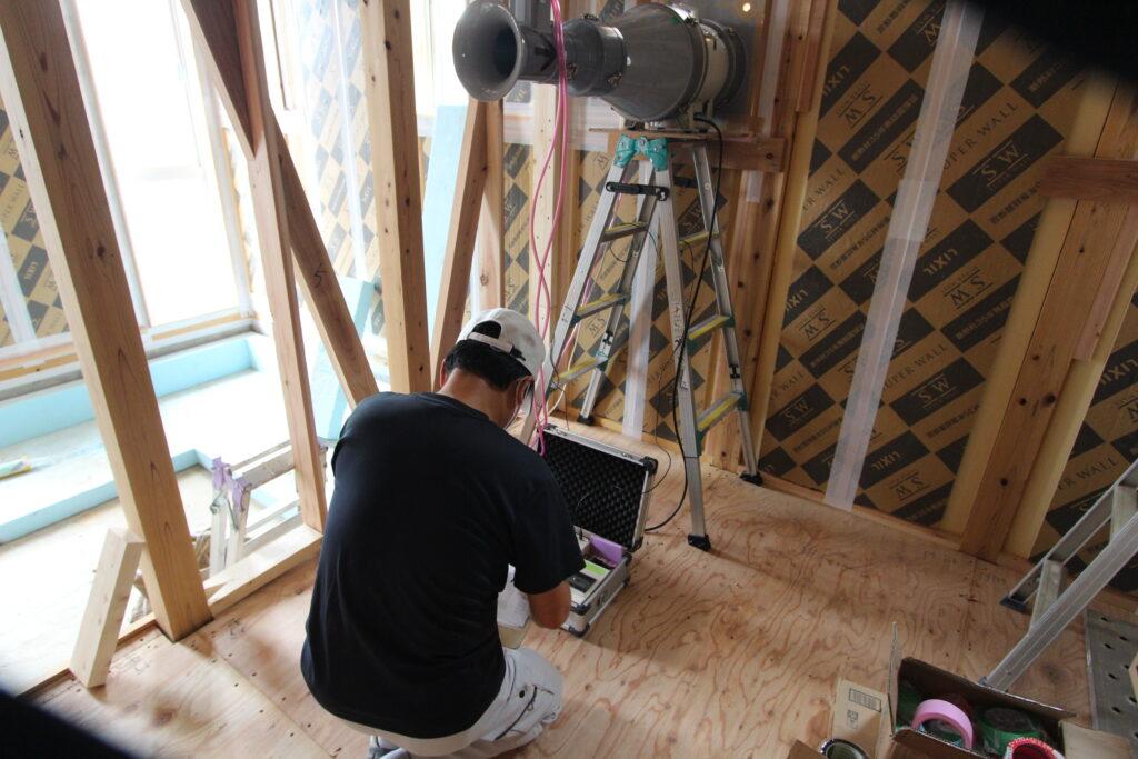 今日は大田原で気密測定でした~大切なので全棟気密測定を行っています。